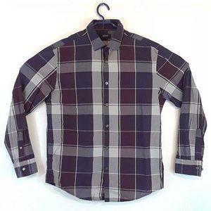 Alfani Mens Buttondown cotton plaid shirt Large